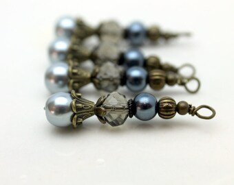 Vintage Style Gray Pearl and Crystal Bead Dangle Earring Charm Drop Set