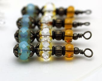 Blue Picasso Firepolished Czech with Czech Tortoise Edge Beads and Golden Bead Dangle Drop Set