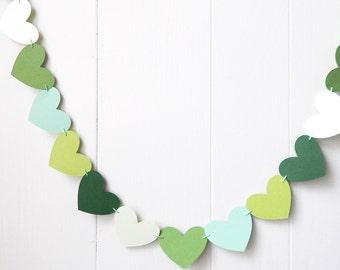 Green Heart Garland / Wedding Decoration / Love Bunting / Anniversary Decor / Photo Prop / Adjustable Hand Sewn