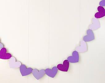 Ready For Shipping Purple Mix Heart Garland -Valentines - Love Garland -Anniversary -Photo Prop -Nursery Decor