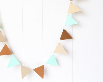 Triangle Flag Bunting Garland Nursery Decor Gold and Mint 10 ft