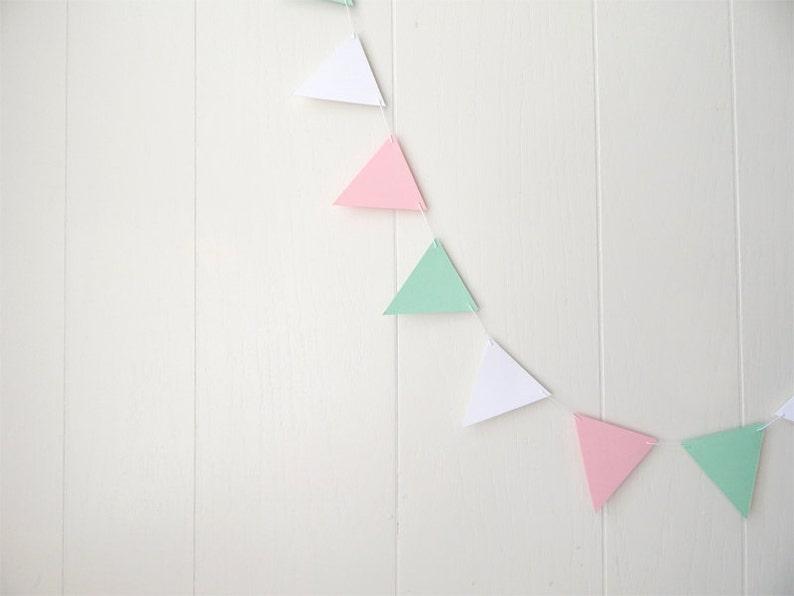 Flagge Wimpel Girlande Kinderzimmer Dekor rosa weiß grün Mint | Etsy
