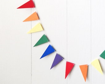 Rainbow Flag Garland / Party Bunting / Nursery Bunting / Party Decor / Photo Prop MADE TO ORDER