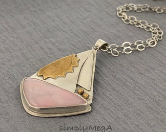 Pink and silver and brass sun sailboat pendant on silver chain with handmade clasp with a pink Peruvian opal cabochon ready to ship