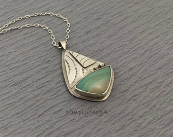 Ocean Blue and Silver Sailboat  Peruvian Blue Opal and sterling silver stamped sailboat pendant