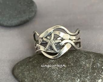 Silver Starfish kelp ring size 9 ready to ship