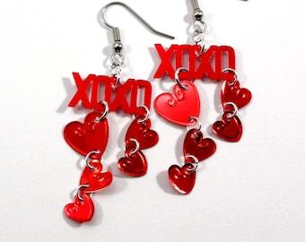 Valentine's Day XOXO Earrings Red Metallic Hearts Dangle Plastic Sequin Jewelry