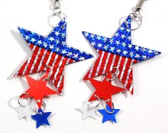 Patriotic American Flag Star Earrings Red White & Blue Hologram Dangles Plastic Sequin Jewelry