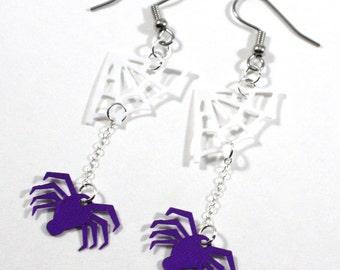 Halloween Earrings Purple Spiders White Web Confetti Dangles Plastic Sequin Jewelry