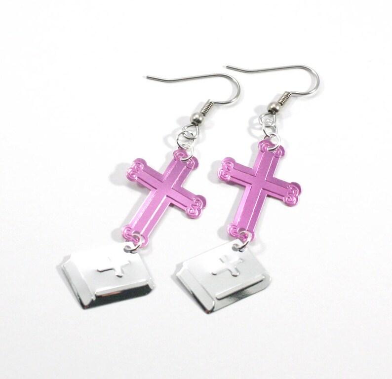 Silver Crosses Easter Jewelry Religious Jewelry Christmas Cross Earrings Gift for Her Easter Gift Dangle Earrings Inspirational Gift