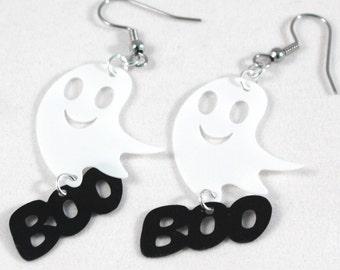 Halloween Earrings Happy Spooky Ghost Earrings Smiley Face BOO Dangles Plastic Sequins