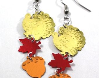 Thanksgiving Earrings Autumn Gold Turkeys Fall Leaves & Acorns Dangling Plastic Sequins
