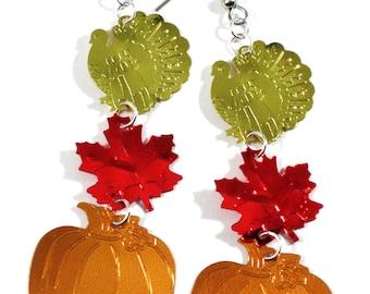 Thanksgiving Earrings Turkey Leaf & Pumpkin Large Confetti Dangles Plastic Sequins