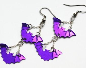 Halloween Earrings Purple Flying Bats Metallic Confetti Dangles Plastic Sequins