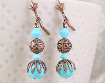 Sky Blue Magnesite Earrings, December Birthstone, Southwest Style