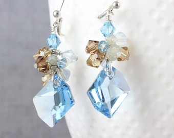 Surf and Sand Crystal Cluster Earrings