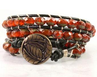 Burnt Orange Leather Wrap Bracelet Dark Green Hippie Bracelet Bohemian Jewelry Triple Wrap Khaki Rustic Leather Jewelry Brass Lily Pad