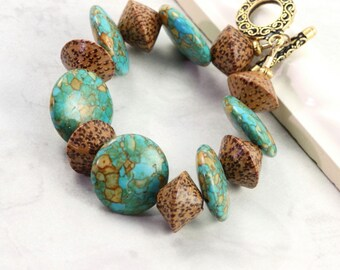 Turquoise Bracelet Summer Party Jewelry Boho Chic Palm Wood Tribal Mint Green Spring Fashion Jewelry
