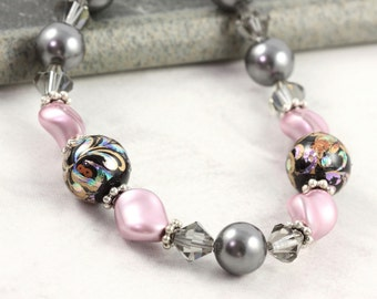 Pink Pearl Bracelet Smoke Gray Pearl Crystal Black Floral Tensha Beads Mauve Bridal Jewelry