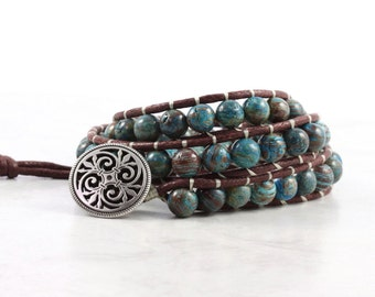 Hippie Wrap Bracelet Blue Sky Jasper Beaded Earthy Brown Blue Boho Fashion Bohemian Style Triple Wrap Vegan Bracelet