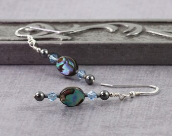 Seashell Earrings Paua Shell Jewelry Aquamarine Earrings Gray Pearl Jewelry Natural Shell Jewelry Abalone Jewelry Aqua Blue Paua Earrings
