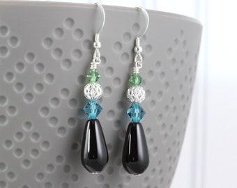 Onyx Teardrop Earrings, Ocean Blue Crystal, Silver Filigree