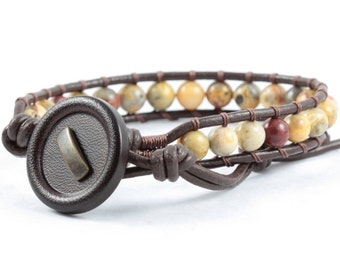 Crazy Lace Agate Bracelet, Rustic Brown Leather Jewelry, Yellow Cream and Gray Beads