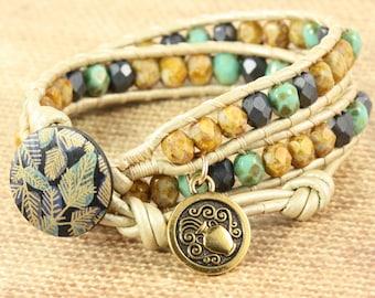Aquarius Bracelet, January Birthday, Star Sign Aquarius, Zodiac Jewelry, Boho Wrap Bracelet, Zodiac Charm Bracelet, Astrological Sign