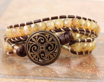Brown Leather Wrap Bracelet Leather Jewelry Champagne Bracelet Cream Bracelet Bohemian Jewelry Double Wrap Beige Bead Brass Boho Jewelry