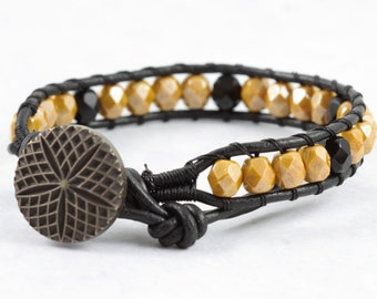 Fall Fashion Wrap Bracelet / Black Leather Wrap Bracelet / Boho Jewelry / Bohemian Jewelry / Goldenrod Autumn Mustard / Goldenrod Bracelet