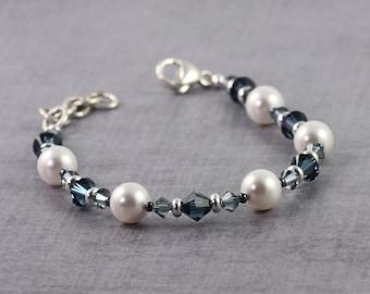 Blue and White Bridal Jewelry, Pearl Bracelet, Dark Blue Crystal Jewelry, Winter Wedding, Adjustable