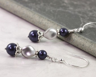 Blue Pearl Earrings Gray Wedding Jewelry Sterling Silver Earrings Bridal Collection Mothers Day Jewelry