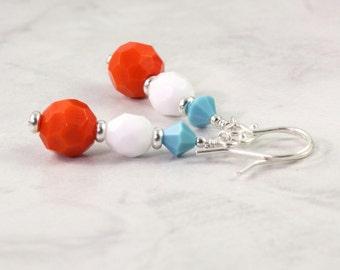 Beach Fashion Earrings Orange Turquoise White Bright Fun Summer Fashion Jewelry Tangerine Tango Mothers Day Jewelry