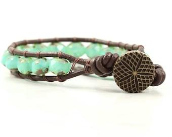 Mint Green Bracelet Bohemian Jewelry Green Beaded Bracelet Brown Wrap Bracelet Boho Jewelry Leather Jewelry Hippie Jewelry Star Jewelry