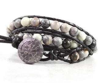 Black Picasso Jasper Bracelet, Gemstone and Leather Jewelry, Triple Wrap