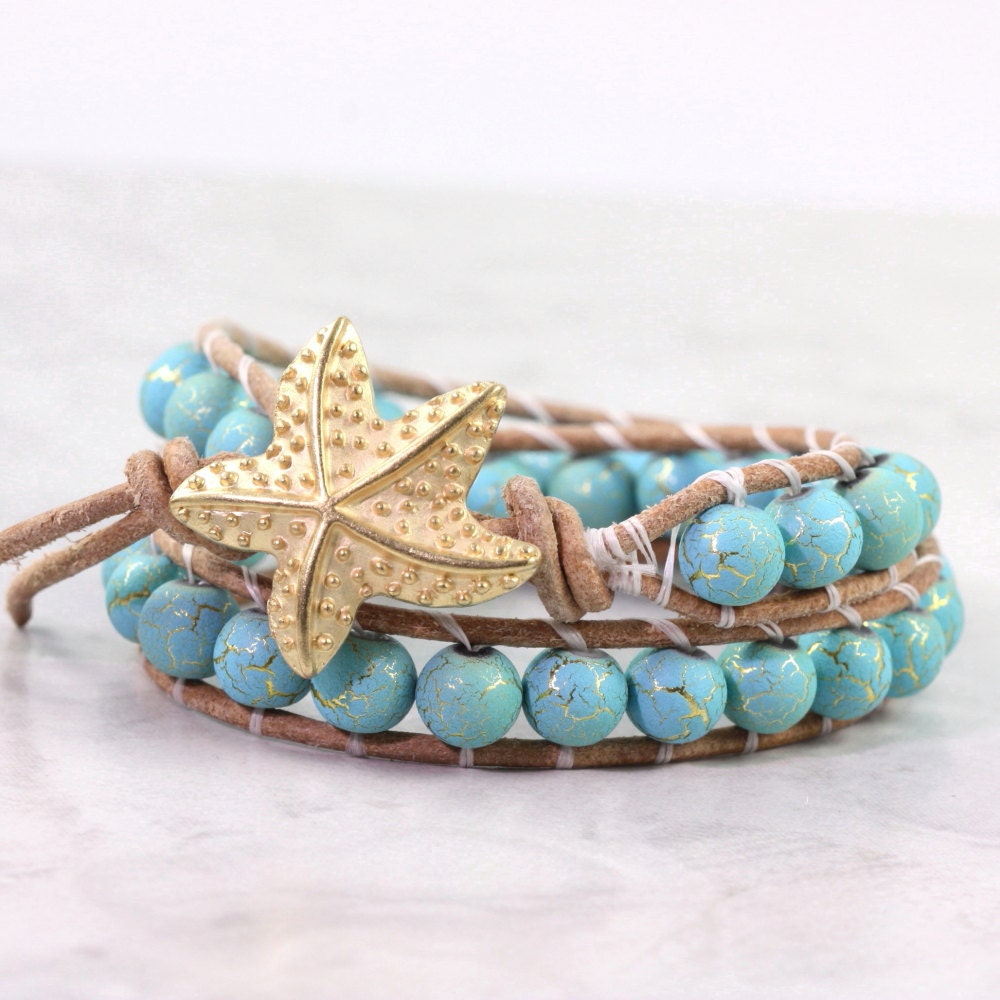 Gold Starfish Bracelet, Turquoise Blue, Leather Wrap Bracelet, Summer Beach Jewelry, Double Wrap