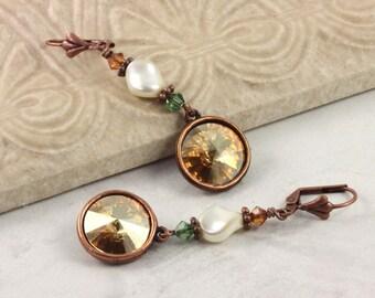 Topaz Crystal Earrings Bridal Jewelry Birthstone Earrings November Birthstone Copper Drop Earrings Dangle Wedding Earrings Fashion Jewelry
