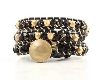 Mothers Day Jewelry Gold Fashion Jewelry Black Wrap Bracelet Boho Jewelry Leather Wrap Bracelet Fashion Bohemian Jewelry Beaded Bracelet