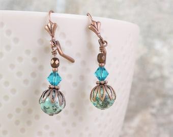 African Jasper Greenish Earrings with Copper Earwires