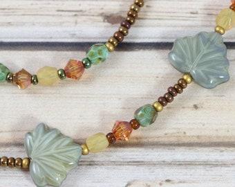 Fall Leaves Badge Holder, Moss Green Eyeglass Chain, Fairy Gift Idea
