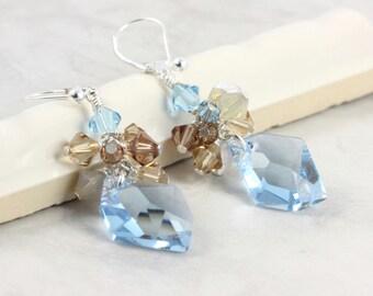 Aqua Blue Bridal Jewelry Crystal Earrings Aquamarine Crystal Cluster Sand Tan Sterling Silver Prom Earrings