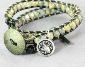 Aquarius Jewelry, February Birthday, Star Sign Bracelet, Zodiac Bracelet, Green Wrap Bracelet, Astrological Sign, Aquarius Bracelet