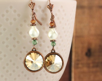 Autumn Wedding, Copper Earrings with Burnt Orange and Sage Crystals