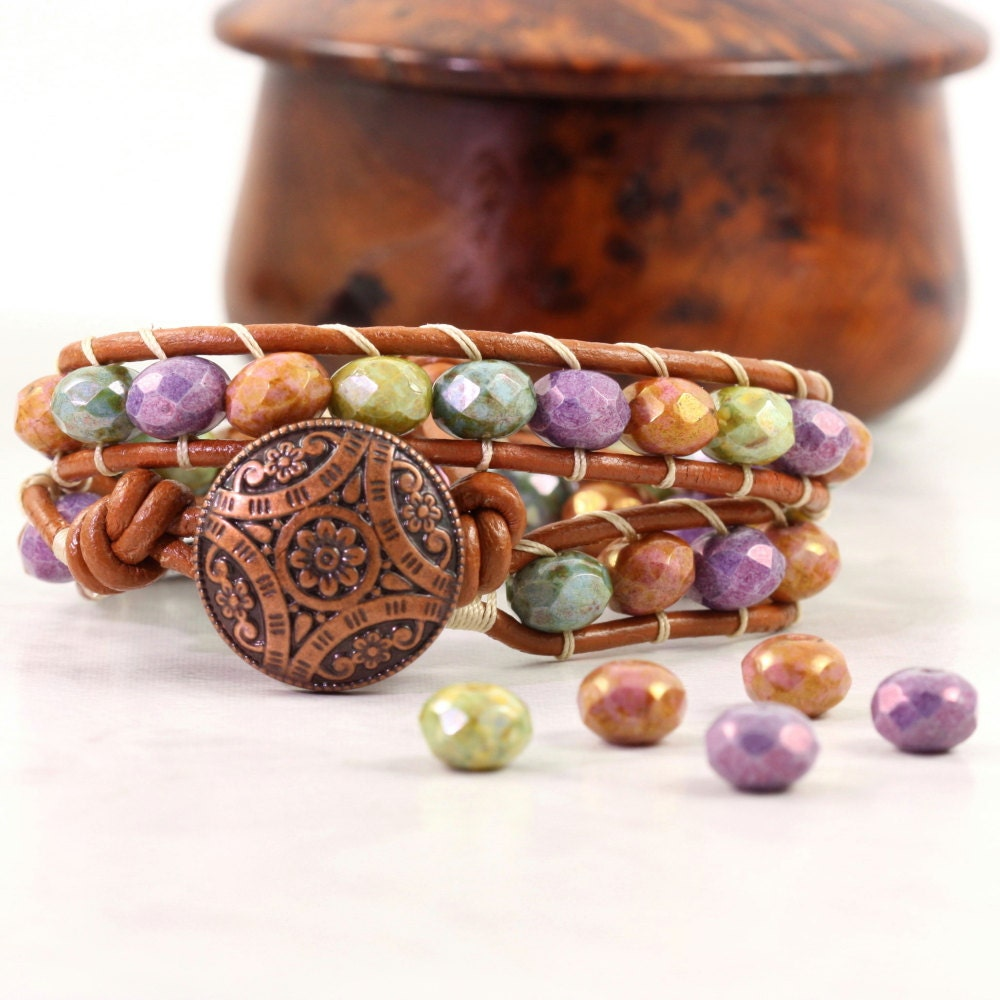 Jewel Tone Wrap Bracelet Purple Green Blue Bohemian Jewelry Gypsy Wrap Bracelet Copper Leather Bracelet Fall Fashion Accessory Hippie Wrap