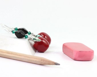 Red Apple Earrings Back to School Green Leaf Fall Fashion Jewelry Gift for Teacher Autumn Jewelry Shiny Red Apple Jewelry
