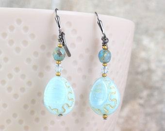 Powder Blue Teardrop Earrings, Etched Oval Drops