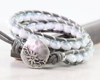Faded Denim Bracelet, Double Wrap Blue Jean Jewelry, Casual Look for Fall