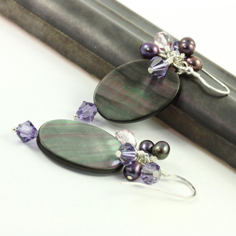 Purple Cluster Earrings Crystal Black Pearl Shell Violet Lavender Jewelry Sterling Silver Classic Style Mothers Day Jewelry