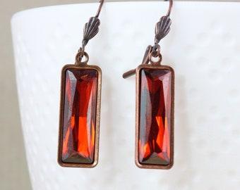 Fiery Red Rectangle Earrings, Faceted Rhinestone Baguette