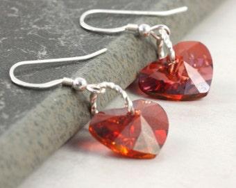 Red Heart Valentine Earrings Scarlet Fire Sterling Silver Dangle Simple Dainty Minimalist Valentine Jewelry